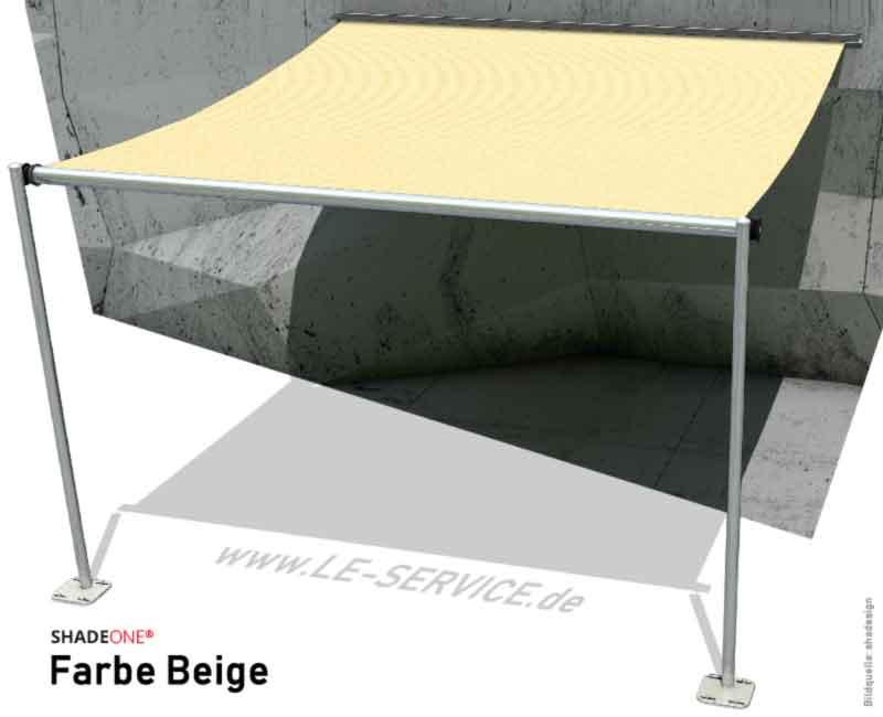 SHADEONE® INOX Sonnensegel mit Säulen aus Edelstahl - Twister-Segel - Bild: shadeone-beige.jpg