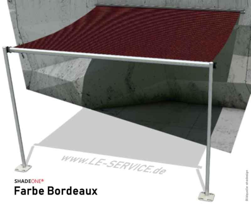 SHADEONE® INOX Sonnensegel mit Säulen aus Edelstahl - Twister-Segel - Bild: shadeone-bordeaux.jpg