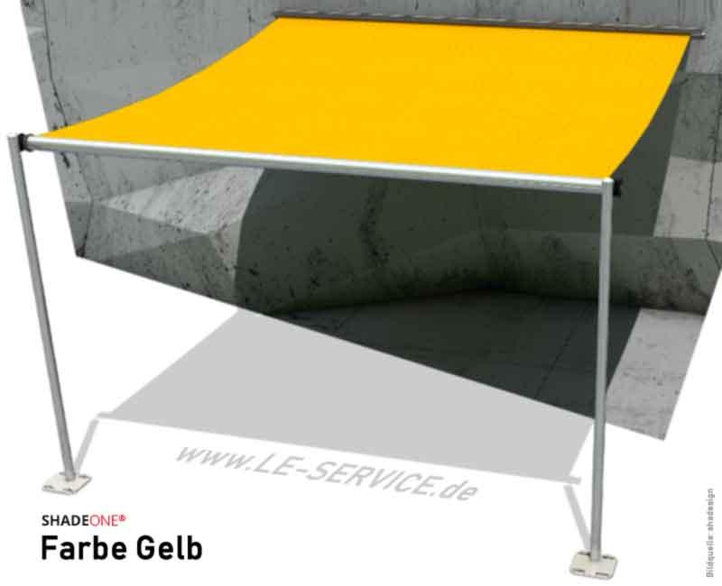 SHADEONE® INOX Sonnensegel mit Säulen aus Edelstahl - Twister-Segel - Bild: shadeone-gelb.jpg