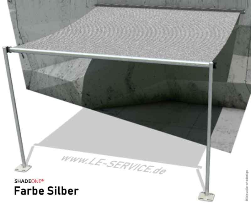 SHADEONE® INOX Sonnensegel mit Säulen aus Edelstahl - Twister-Segel - Bild: shadeone-silber.jpg