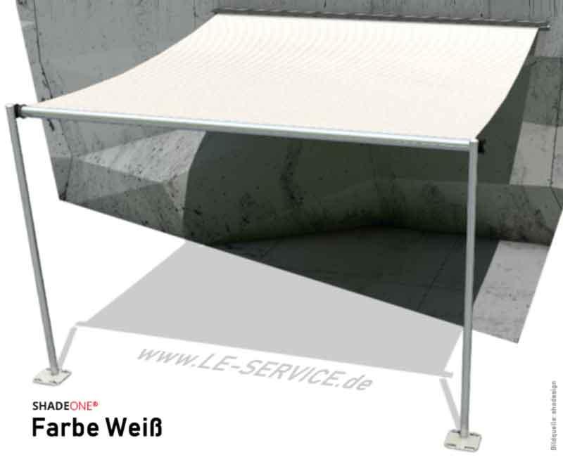 SHADEONE® INOX Sonnensegel mit Säulen aus Edelstahl - Twister-Segel - Bild: shadeone-weiss.jpg