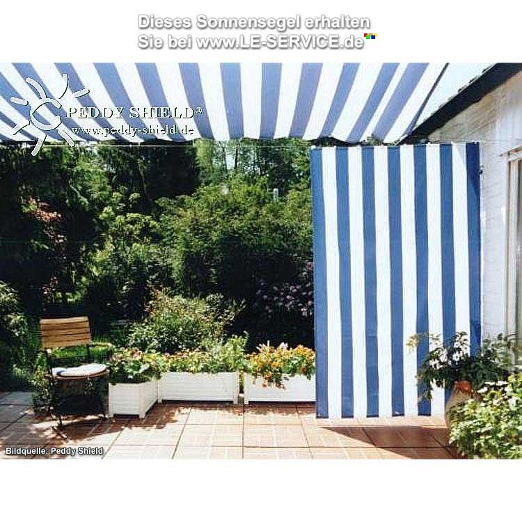 Sonnensegel 3300 x 2000 mm Farbe Blau Weiß