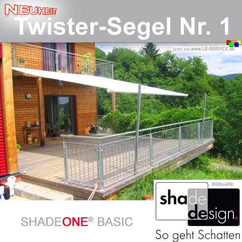 SHADEONE® BASIC mit vezinkten Stahlsäulen Twister-Segel bis 4x4 m