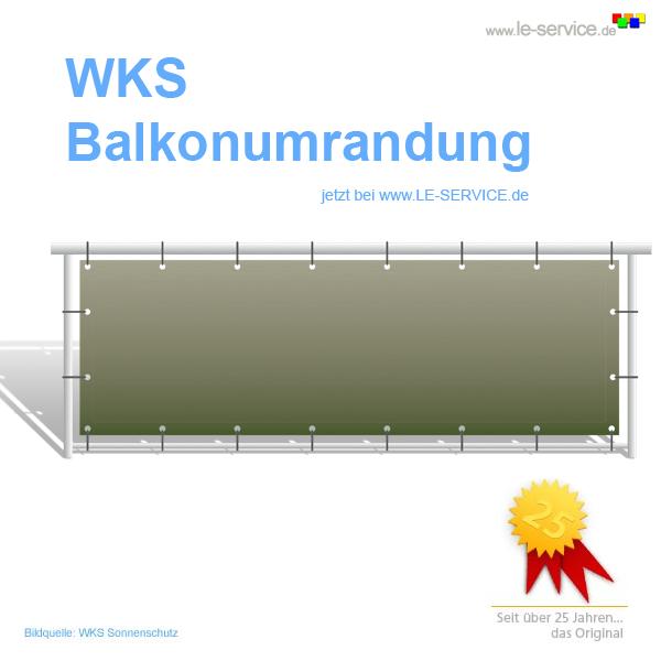 Abbildung:  WKS Balkonumrandung auf Maß für Ihren Balkon - umlaufender Saum mit Ösen