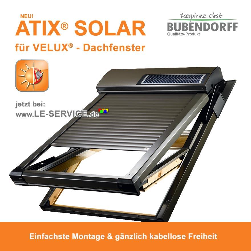 Abbildung:  Dachfensterrollladen ATIX® SOLAR für VELUX® Dachfenster inkl. Solarpaket