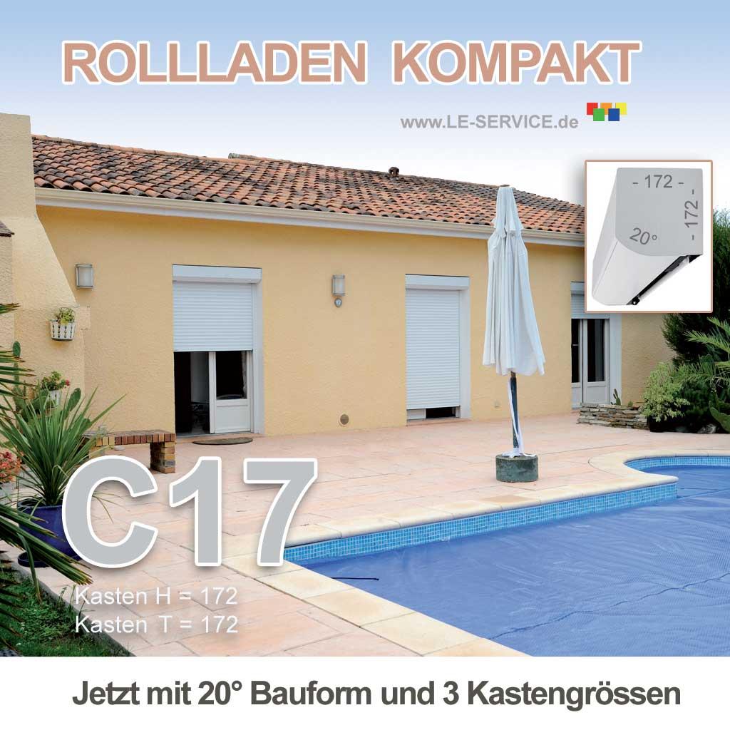 Abbildung:  Elektrischer Rollladen KOMPAKT Kasten C16 Aluminium + Elektromotor 230V