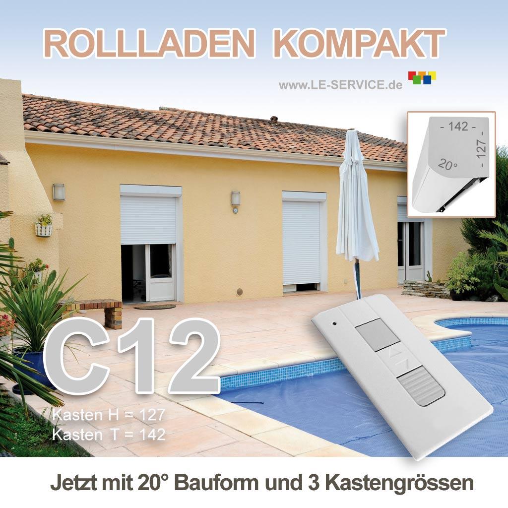 Abbildung:  Elektrischer Rollladen KOMPAKT Kasten C12 Aluminium + Elektromotor 230V