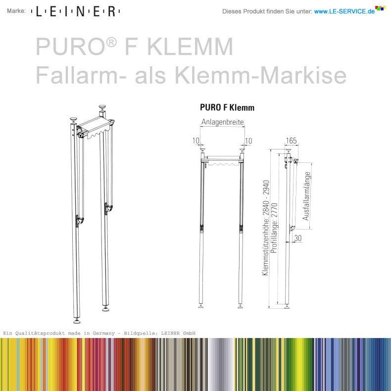 Abbildung:  LEINER PURO® F KLEMM - offene Fallarmmarkise