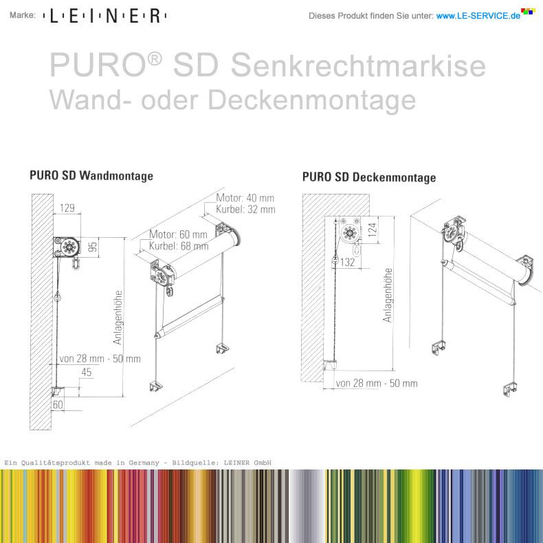 Abbildung:  LEINER PURO® SD - offene Senkrechtmarkise mit Seilführung