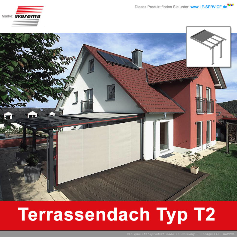 WAREMA Terrassendach T2 Aluminium mit außenliegender Dach-Beschattung
