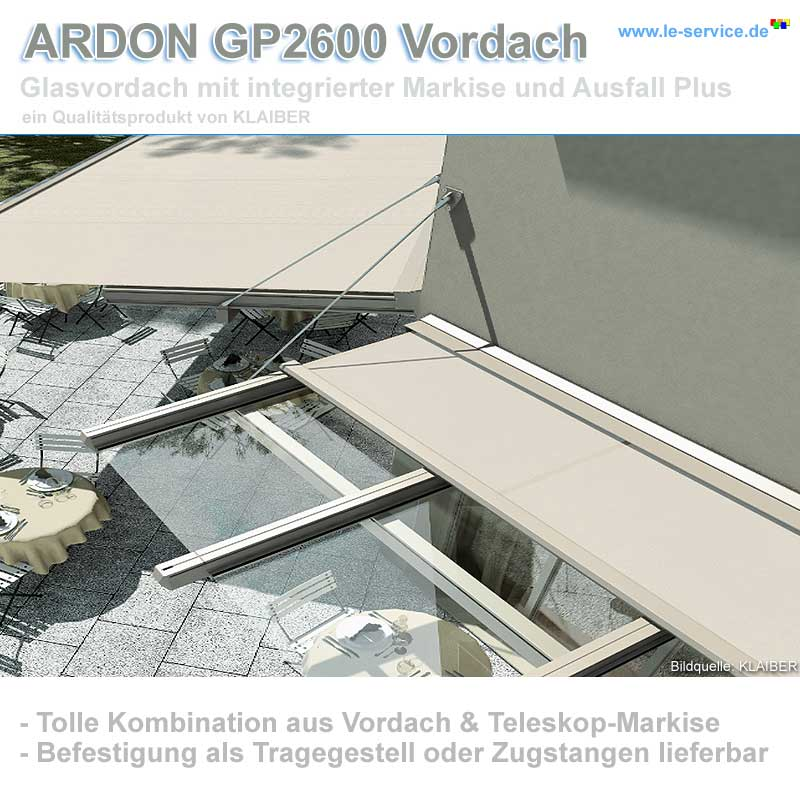 KLAIBER ARDON GP2600 Glasdach ein Glasvordach mit integrierter Markise