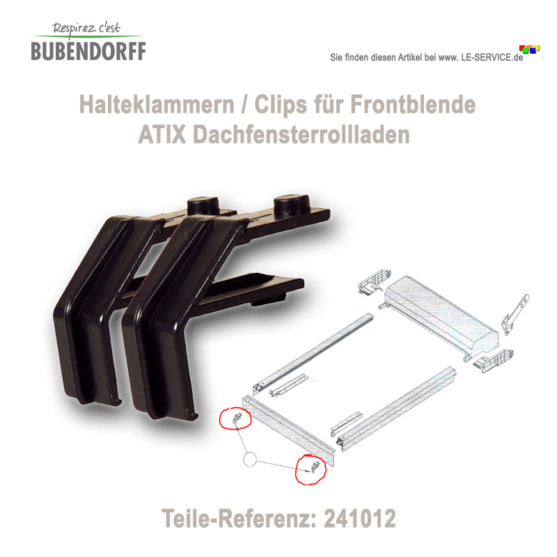 1 Paar Halteklammern Front Bubendorff ATIX Rollladen - Ref 241012