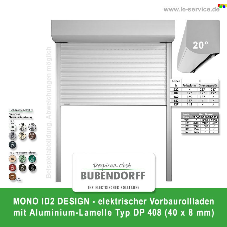 Abbildung:  Vorbaurollladen MONO ID2 DESIGN Lamelle DP 408 Bubendorff