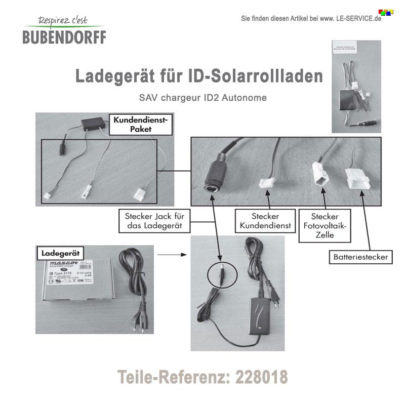 Externes Ladegerät für Bubendorff Solarrollladen - Ref 228018