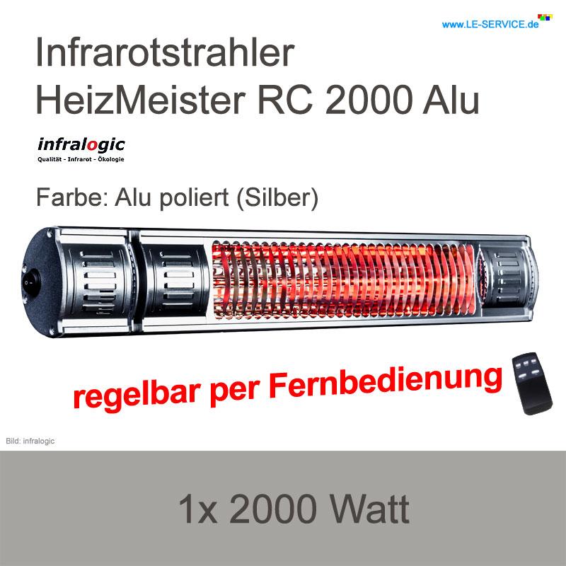 Infrarotstrahler 2000 W infralogic HeizMeister RC 2000 FB, regelbar, Alu