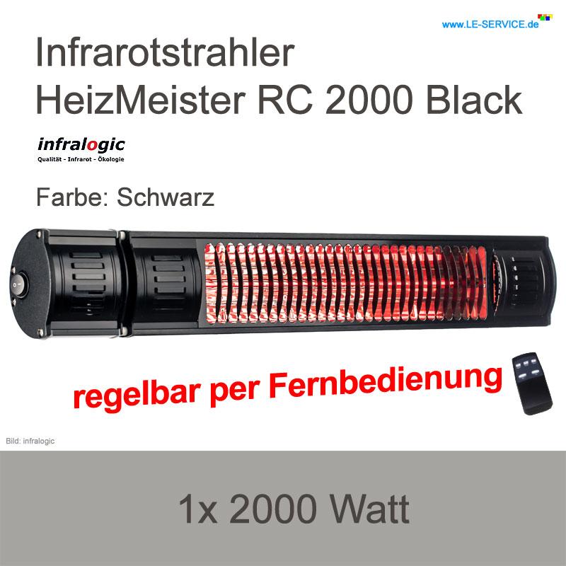 Infrarotstrahler 2000 W infralogic HeizMeister RC 2000 FB regelbar Black