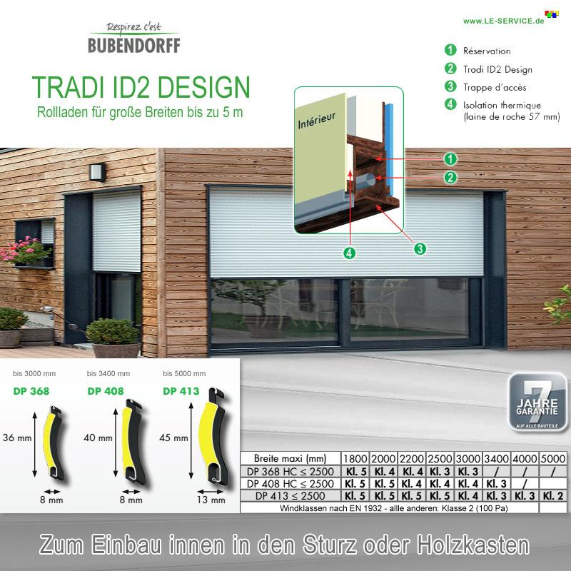TRADI ID2 DESIGN Rollladen - kein Rolltor - Lamelle 45 mm Breite bis 5 m