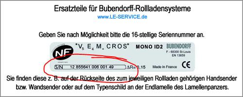 Ersatzteile für Bubendorff-Rollladen